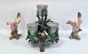 Lonitz majolica centrepiece depicting four baskets, bird's nests among branches, marked to base