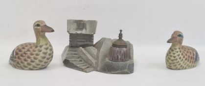 Grey hardstone carved inkstandwith metal-mounted removable glass inkwell, in the form of house