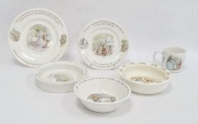 Royal Doulton 'Bunnykins' baby dish and five pieces of Wedgwood 'Beatrix Potter' nursery ware (6)