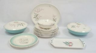 Crown Ducal part dinner service, floral spray decorated, a Susie Cooper rectangular dish, floral
