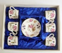 Set of six Coalport 'San Remo' china coffee cans and saucers in presentation box