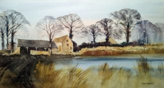 G John Blockley (1921-2002) Watercolour drawing Cotswold building with stone barn beside river,