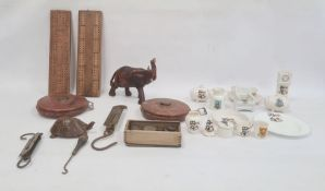 Small quantity Goss and other crested china, two old surveyors tapes, leather-bound, two old brass-