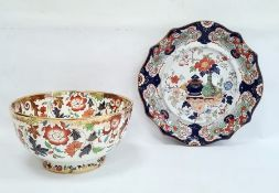 Ironstone china serving plate, Imari colour patterned, marked to base and no.266 and an Ironstone