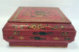 Chinese lacquer dowry box and cover, square, with exotic bird on peony branches to the cover, 42cm