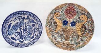Continental tin glazed earthenware shallow bowl with underglaze blue decoration of exotic birds,