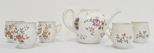 18th century English porcelain teapot, floral spray and butterfly decorated (lid missing) and a