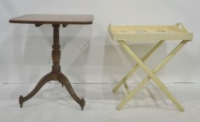 Modern butler's trayon folding stand and a mahogany side table(2)