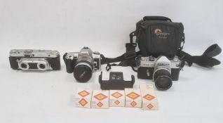Edixa stereo camera, no.138719, a Konica FM camerawith Konica Hexanon lens 1:2.8F=35mm, no.