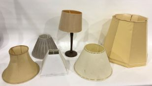 Wooden table lampwith beige shade and other assorted shades(4)