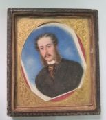 19th century school Watercolour on ivory Head and shoulders portrait of a gentleman in clack suit,
