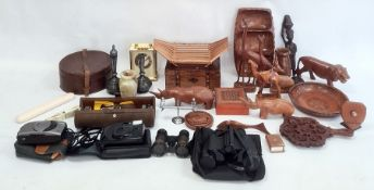 Quantity of African carved hardwood model animals, old leather collar box, circular, pair of Eastern