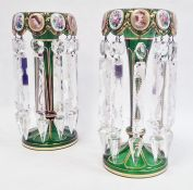 Pair of Victorian Bohemian overlay green glass lustreswith white overlay to inside of bowls, oval