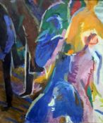 20th century school Oil on canvas Abstract scene of figures, initialled 'IK' lower left, with