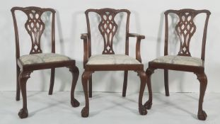 Set of five (4+1) early 20th century mahogany dining chairsin the Georgian-taste, carved and