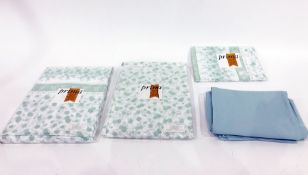 Assorted bedlinen, tea towels, tablecloth, some still in their packaging (2 boxes and 1 bag)