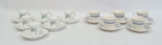 Set of five Masons 'Louise' pattern miniature cups and saucers and another miniature set of six