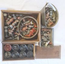Quantity of old painted lead(?) chess pieces(4 boxes)