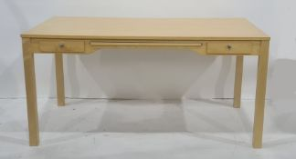 20th century deskwith rectangular top, pull-out surface, flanked by two drawers, on square