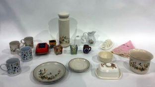 Carlton ware trinket dish, leaf-shaped, butter dishes,plates, assorted plantersand other items (