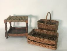 Assorted wicker baskets, table lampsand small stool