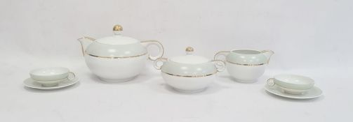 Limoges A.Vignaud France tete-a-tete art deco style comprising teapot, milk jug, sugar bowl, two
