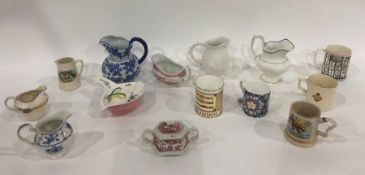 Assorted chinato include Wood & Sons 'Woodland' pattern jug, various tankards, jugs, wooden buddhas