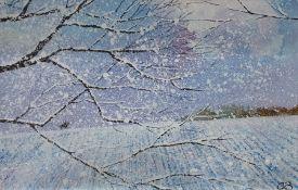 Chris Bourne (20th century school) Oil on board Snowy landscape scene, unsigned, initialled CB
