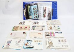 Album containing coins and First Day Covers and a quantity of loose FDCs(1 box)