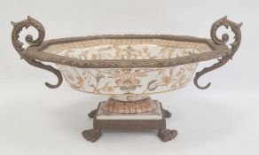 Reproduction gilt metal mounted porcelain pedestal bowl with scroll handles, shaped oval,