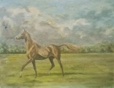 Attributed to Madeline Selfe (1910-2005) Oil on canvas board Horse galloping in a field, 21.5cm x