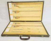 Part catheter set in brass mounted green leather effect carrying case