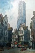 Paul Braddon (20th century school) Watercolour and pastel Continental townscape, signed lower