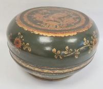 Chinese lacquered wood dowry box and cover, circular, green ground with gilt floral decoration, 34cm