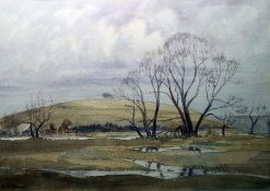 H McDowall (20th century) Watercolour Winter landscape, signed lower left, 25.5cm x 36.5cm