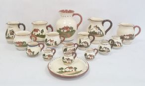 Assorted Devon motto ware jugs, various sizes and a plate (16)