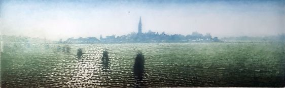 20th century continental school Aquatint View of Venice from the lagoon, indistinctly signed in