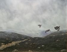 Michael Sawdy Oil on canvas Grouse in flight over moorland, signed upper left, 29.5cm x 59cm