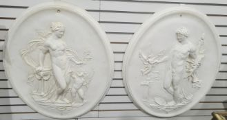 Pair classical oval plaster reliefs, one with Venus and Cupid and the other with male figure, 83cm