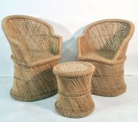 Two string and cane chairsand a stooland two Victorian side chairs (5) Condition ReportCane