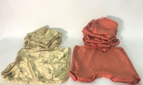 Quantity of red and gold oriental patterned pillowcases and covers(1 bag)