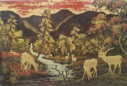 Lacquered picture on panel Deer in mountainous landscape, unframed, 39.7cm x 60cm