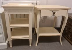 Cream painted modern furnitureto include three-drawer bedside chest, bedside table, three-drawer