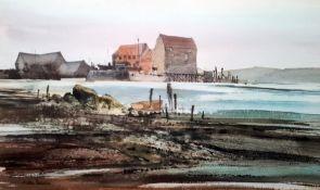G John Blockley (1921-2002) Watercolour drawing Coastal scene, beached rowing boat and buildings,