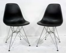 Set of six reproduction Charles & Ray Eames Vitra chairs,moulded plastic on metal bases (6)