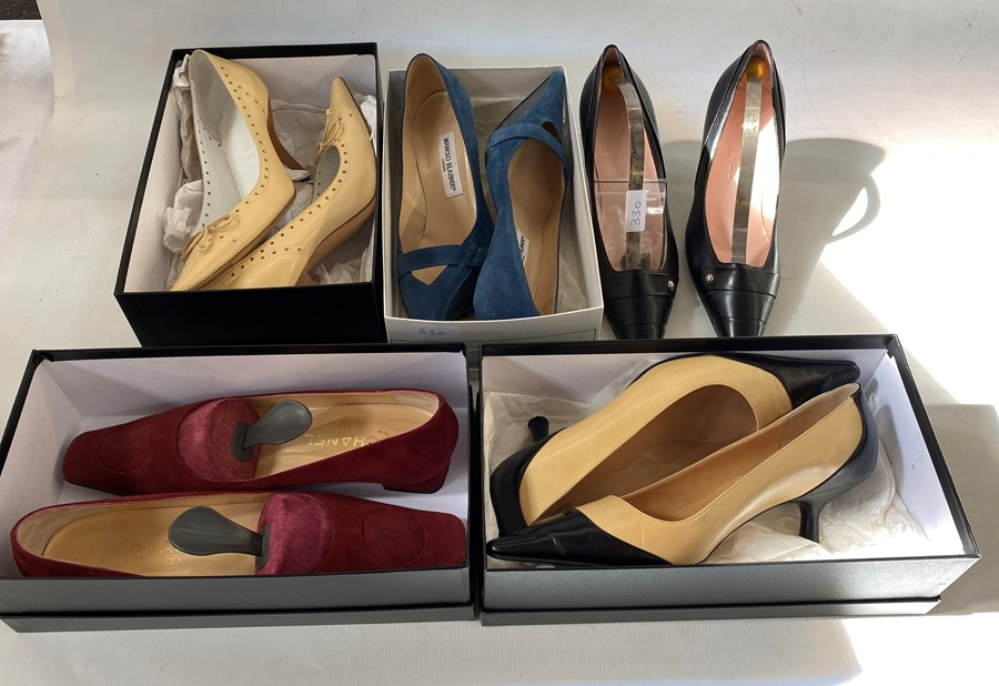 Various boxed Chanel shoes, sizes 39 and 39 and half, to include maroon suede with the Chanel logo