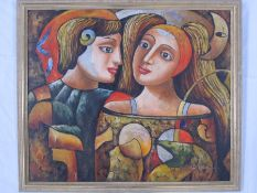 W. Mink (?) 20th century Oil on board Abstract couple with moon, signed lower right, 49 x