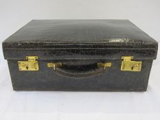 Vintage crocodile vanity case with cover, satin lined, no fittings