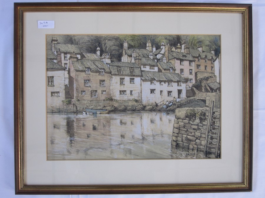 E W Moy (20th century school) Watercolours Cathedral,  Polperro and another wharf scene and two