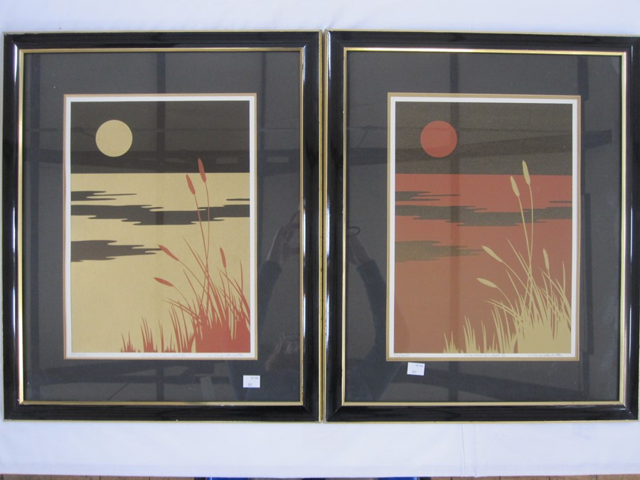 """V. Charlesworth (20th Century) Limited edition print Nos. 339 and 114 of 400 """"Oriental Sunset II"""", a"""